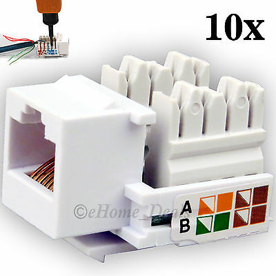 10x Pack RJ45 Cat5e Network LAN Keystone Cable Wall Jack Clip Module Socket Plug
