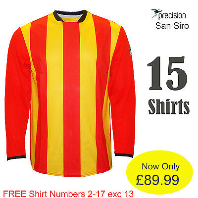 PRECISION STRIPED FOOTBALL TEAM KIT SHIRTS X 15 Adult 11-a-side X/LARGE