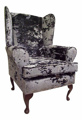 Fireside / Wing Back  / Queen Anne Chair Dream-Grey Crushed Velvet Fabric