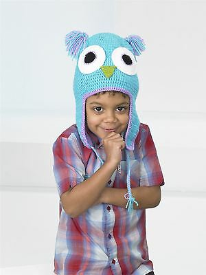 Kids Create Your Own Owl Turquoise Blue Easy Crochet Hat Kit 4 to 8 Years