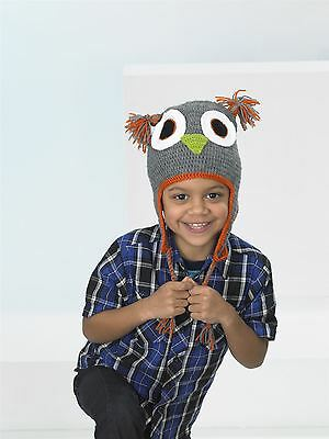 Kids Create Your Own Owl Grey Orange Easy Crochet Hat Kit 4 to 8 Years