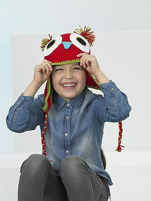 Kids Create Your Own Owl Red Green Easy Crochet Hat Kit 4 to 8 Years