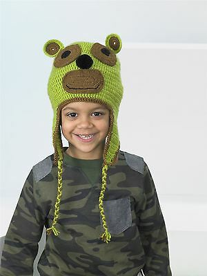 Kids Create Your Own Monkey Green Brown Easy Crochet Hat Kit 4 to 8 Years