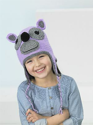 Kids Create Your Own Monkey Purple Grey Easy Crochet Hat Kit 4 to 8 Years