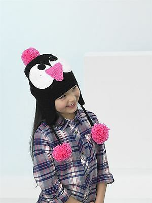 Kids Create Your Own Penguin Pink Black White Easy Crochet Hat Kit 4 to 8 Years
