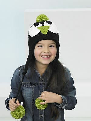 Kids Create Your Own Penguin Green Black White Easy Crochet Hat Kit 4 to 8 Years