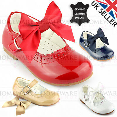 Girls Mary Jane Bow Shoes Genuine Leather Patent Spanish Style Removable Bow New