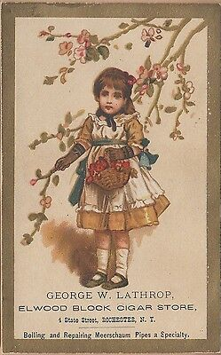 Victorian Trade Card-George W Lathrop Cigars-Rochester, NY-Girl Picking Flowers