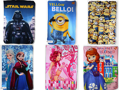 Official Licensed Disney Characters Starwars-Frozen-Minions Kids Fleece Blankets