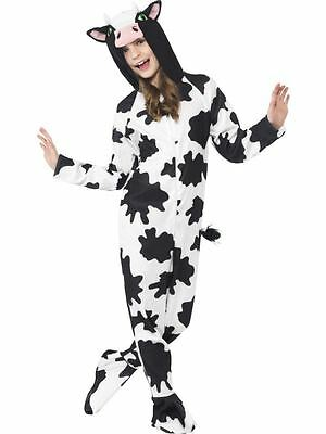 Childrens Cow Print Onesie Costume Boys Girls Fancy Dress Kids Outfit Smiffys