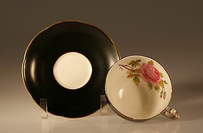 Adderly China Black with Pink Roses Cup and Saucer, Made In England c. 1950's