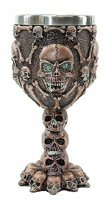 Bronze Skulls & Bones Wine Goblet Stainless Medieval Collectible Home Decor Gift