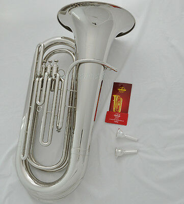 Professional Quality Bb TUBA horn Silver Nickel Monel Valves free 2 Mouthpieces