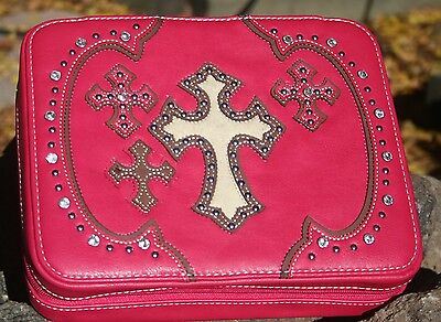 Pink MONTANA WEST RHINESTONE CROSS Bible Cover Bible Case Book Case with Zipper