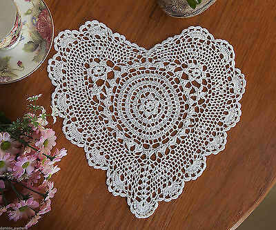 Fine Yarn Hand Crochet Lace Heart Shape Cotton Doily Placemat 28x30CM White