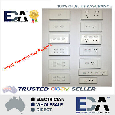 Power Point Switch GPO Socket Outlet Double 2000 White Single