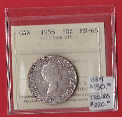 1958 Canada 50 Cent Silver Coin Fifty Half Dollar ICCS MS 65 8319  $220 SALE