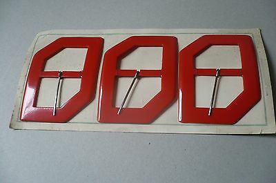 Vintage Retro Red Huge Buckles on Original card (3) Made in Czechoslovakia