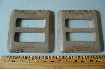 Vintage Wooden Belt Buckles (2)