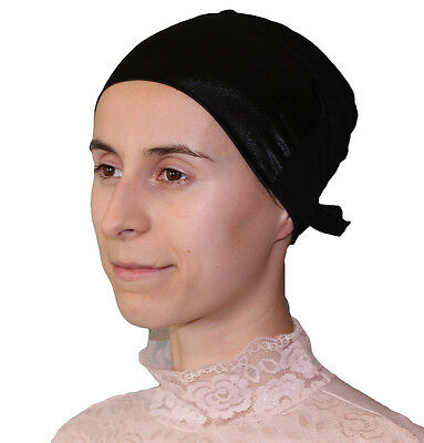 Firdevs Islamic Women's Luxury Satin Hijab Bonnet Underscarf Black