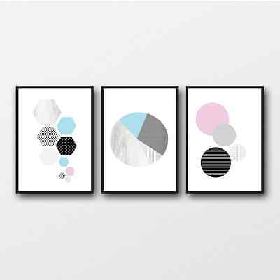 Pastel Abstract Prints / Set of 3 Posters / pastel wall decor / Scandi Print Art