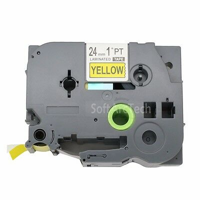 1 PK Black on Yellow Tape Label Compatible for Brother P-Touch TZe TZ  S651 24mm