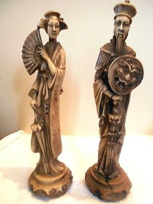 Pair Oriental STATUES vintage Norleans Italy man & woman Chinese Japanese carved