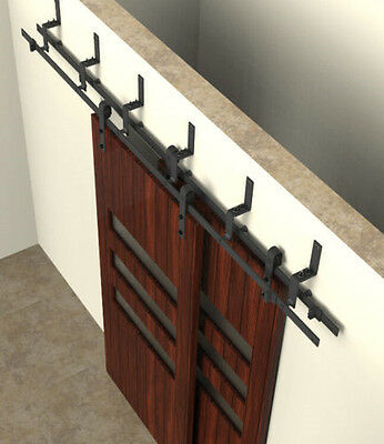 high-quality Bypass sliding barn wood closet door rustic black hardware
