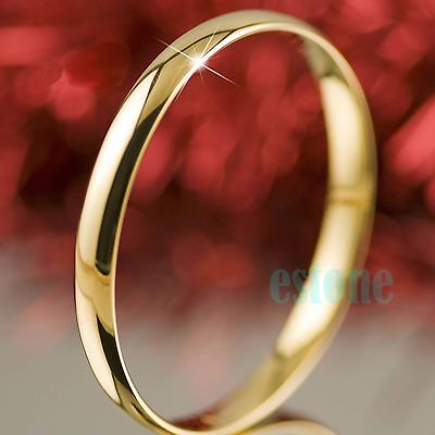 Fashion Lady Womens Silver Yellow Gold Plated Slip On Solid Bangle Bracelet