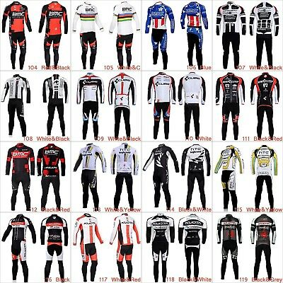 Mens Cycling Jersey Set Kit Bike Bicycle Clothing Long Sleeve Jersey Shirt Pants