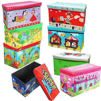Xmas Kids Toy Gift Storage Box Bench Seat Lid Foldable Stool Bedroom Room Books