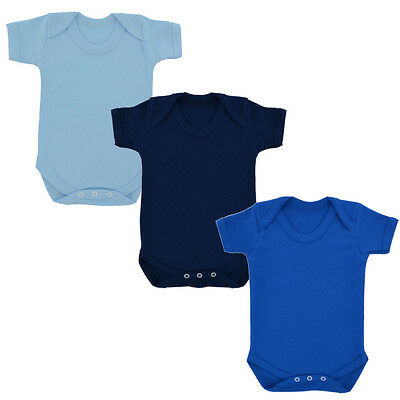 3 PACK Plain Sky Royal & Navy Blue Cotton Babygrow Baby Body Suit babies romper