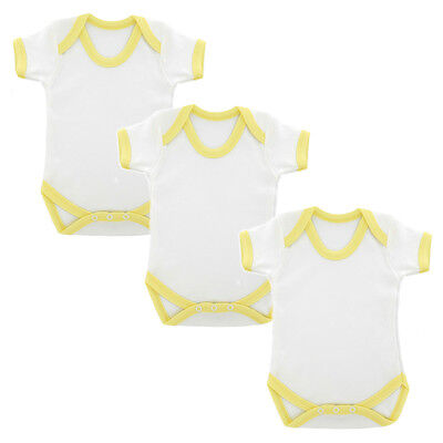 3 PACK Plain White & Yellow Trim Cotton Babygrow Baby Body Suit babies romper