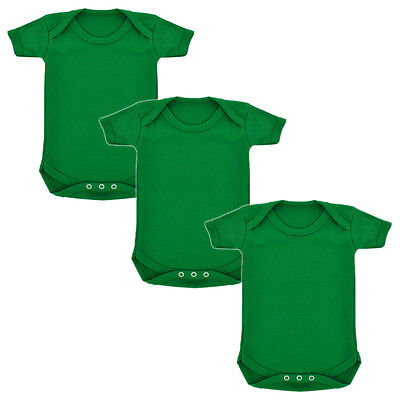 3 Pack Plain Emerald Green 100% Cotton Babygrows baby body suit babies romper
