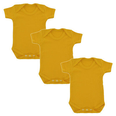3 Pack Plain Yellow 100% Cotton Babygrow baby body suit sunflower babies romper
