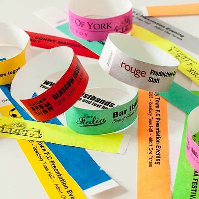 Plain and custom printed 3/4 Tyvek Wristbands, paper like, security, festivals