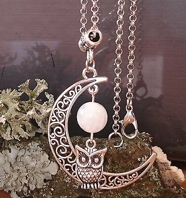 Pagan Wicca Triple Goddess Moon Necklace Silver Amulet Moonstone Owl Pouch
