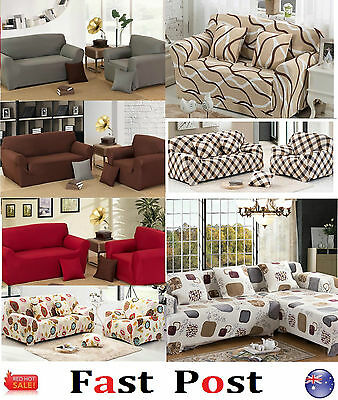Stretch Fit Sofa Cover Lounge Couch Removable Slipcover Washable RED Brown white