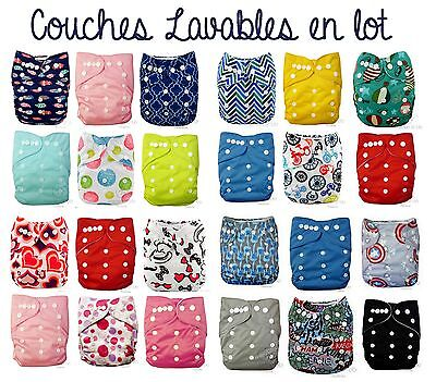 Lot 6 Couches Lavables Bebe Te1 Tout En Un Evolutive + Insert Microfibre Couleur