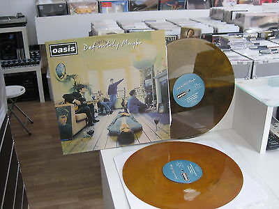 Oasis 2 Lp  Definitely Maybe Yellow/brown Vinyl Rare