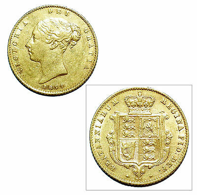 Pre-Owned 1871 Half Sovereign 22ct Gold Coin. Queen Victoria Young Head & Shield