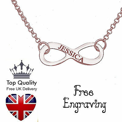 Infinity Pendant Personalised Engraved Name Necklace Rose Gold Plated Jewellery