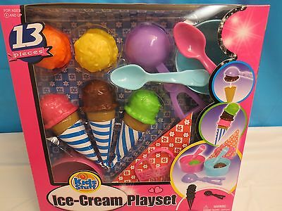 New Ice Cream Playset Play Food Cones Bowls Spoons Napkin Holder Gift Set