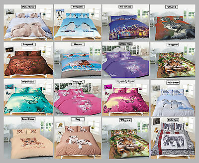 3D Animal Printed Duvet Cover & Pillow Case Sets, Quality Bedding All Sizes