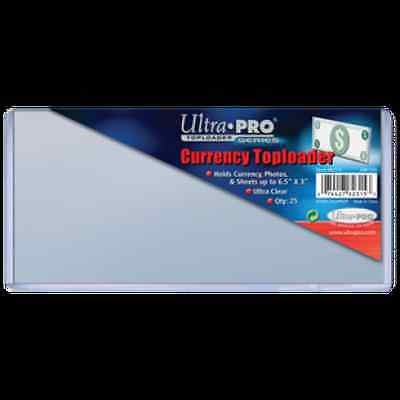 """Ultra Pro Currency Toploader 6.5""""x3"""" Clear Holder 25 Pack - Dollar Bill Case CDG"""