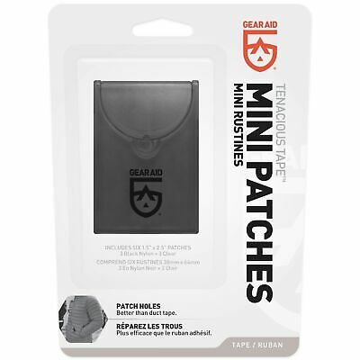 "Gear Aid Tenacious Tape Mini Patches Black & Clear 1.5""x 2.5"" Nylon Gear Patches"