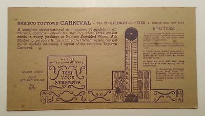 """Vintage 1946 Nabisco Toytown Carnival Card #27 """"Test Your Strength"""""""