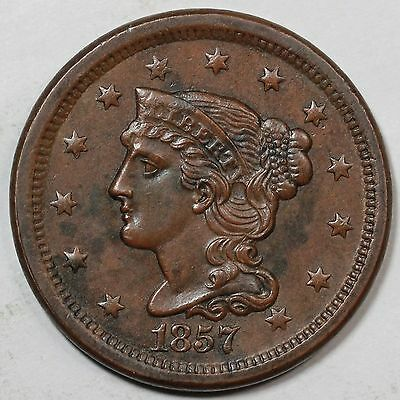 1857 N-4 Braided Hair Large Cent Coin 1c