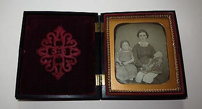 Mother & Children Post Mortem? Daguerreotype Photo, Floral Thermoplastic Case