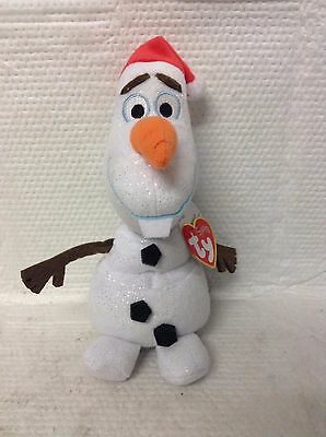 Ty Beanie Babies Olaf From Frozen  With Santa Hat And Silver Sparkles